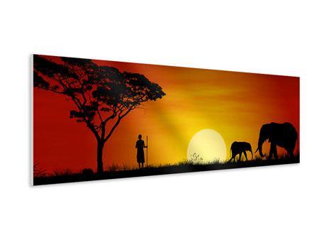 Hartschaumbild Panorama Afrikanische Steppenelefanten