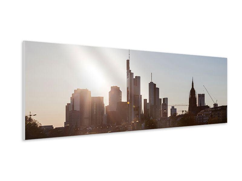 Hartschaumbild Panorama Skyline Sonnenaufgang bei Frankfurt am Main
