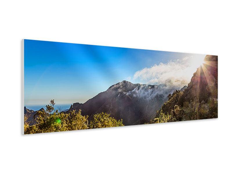Hartschaumbild Panorama Berge am Meer