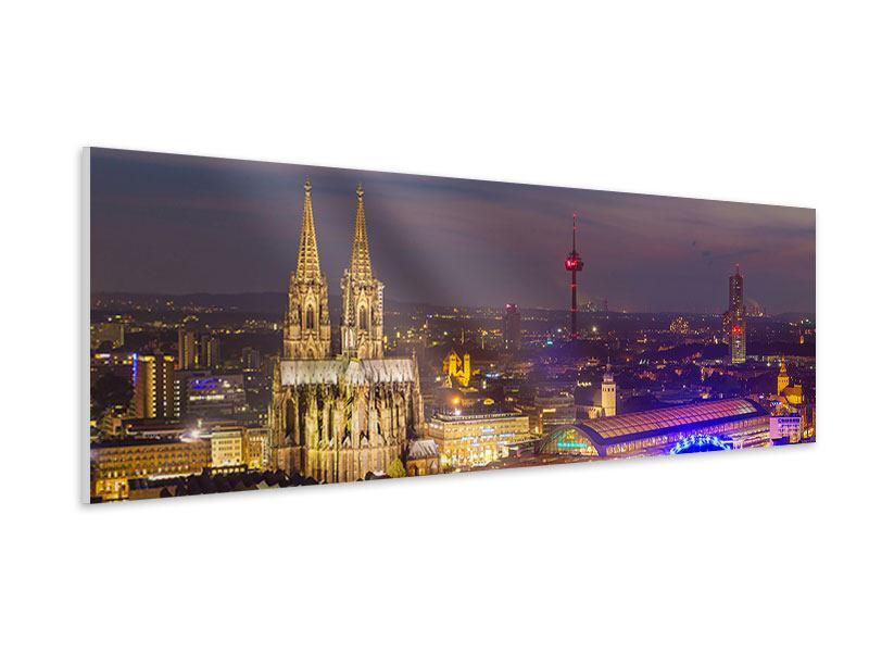 Hartschaumbild Panorama Skyline Kölner Dom bei Nacht