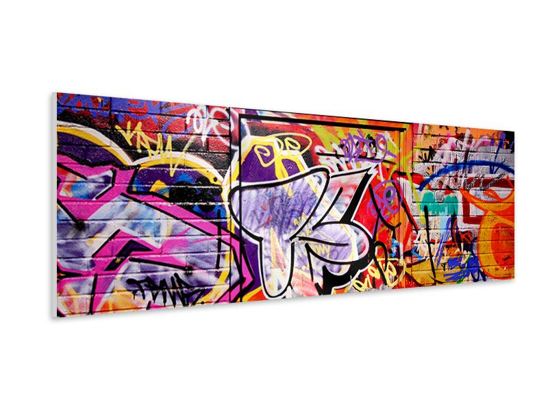 Hartschaumbild Panorama Graffiti Kunst