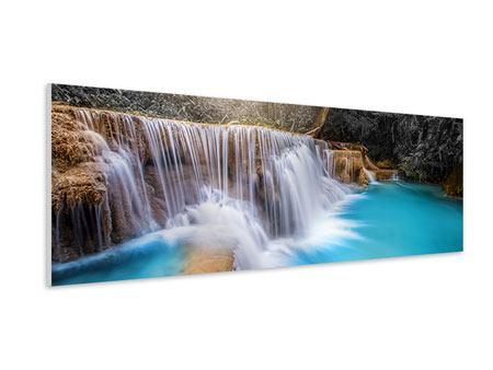 Hartschaumbild Panorama Glücklicher Wasserfall