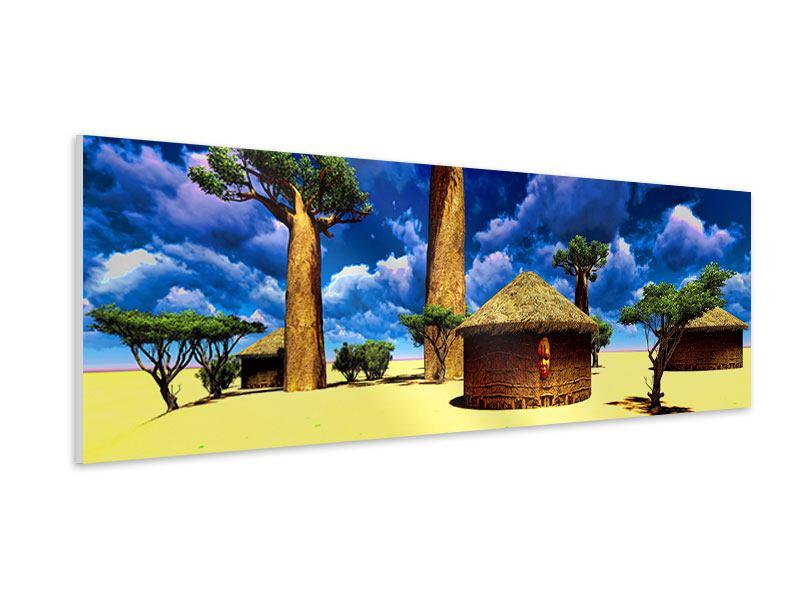 Hartschaumbild Panorama Ein Dorf in Afrika