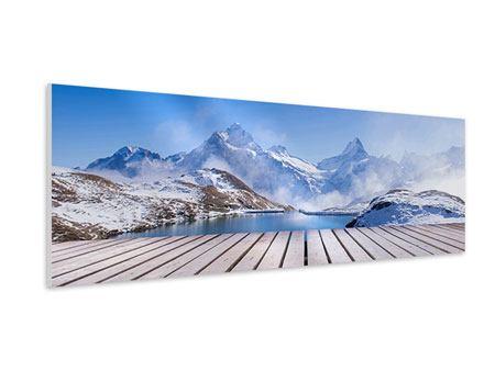 Hartschaumbild Panorama Sonnenterrasse am Schweizer Bergsee