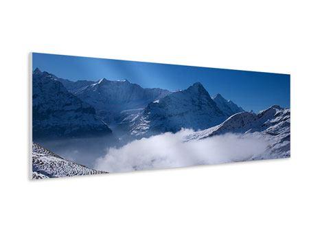 Hartschaumbild Panorama Sonnenterrasse in den Schweizer Alpen