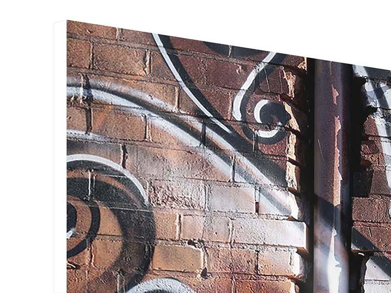 Hartschaumbild Panorama Graffiti Mauer