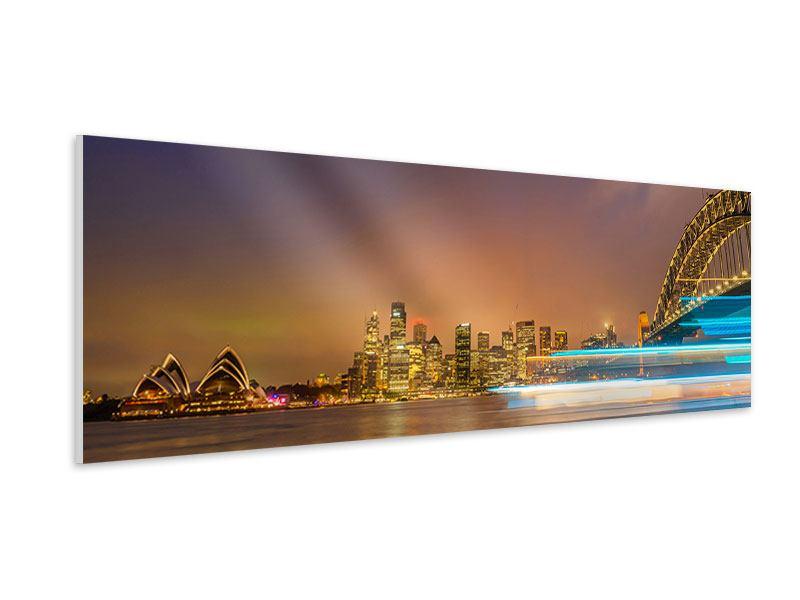 Hartschaumbild Panorama Skyline Opera House in Sydney im Abendlicht