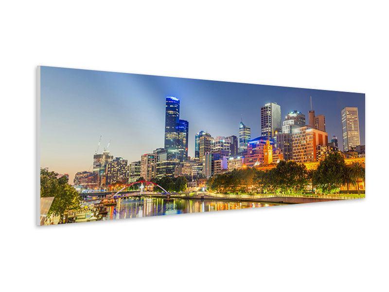 Hartschaumbild Panorama Skyline Sydney in der Abenddämmerung