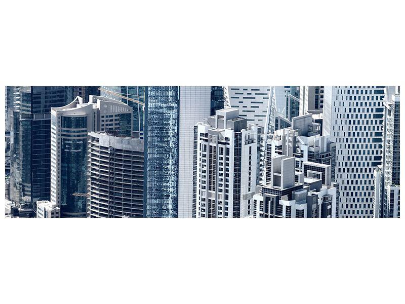 Hartschaumbild Panorama Die Wolkenkratzer von Dubai
