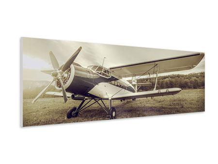 Hartschaumbild Panorama Nostalgisches Flugzeug im Retrostyle