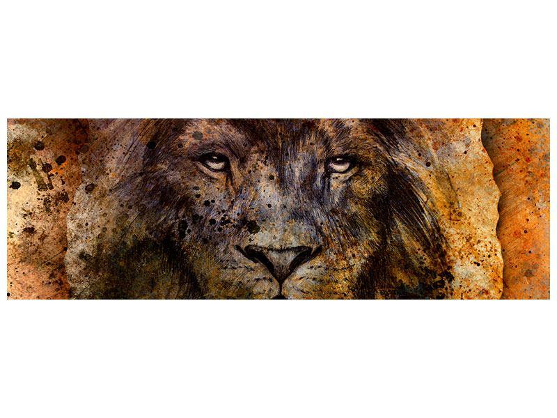Hartschaumbild Panorama Portrait eines Löwen