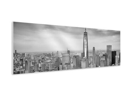 Hartschaumbild Panorama Skyline Schwarzweissfotografie New York