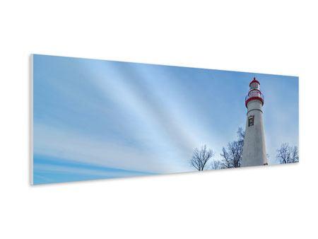 Hartschaumbild Panorama Leuchtturm im Schnee