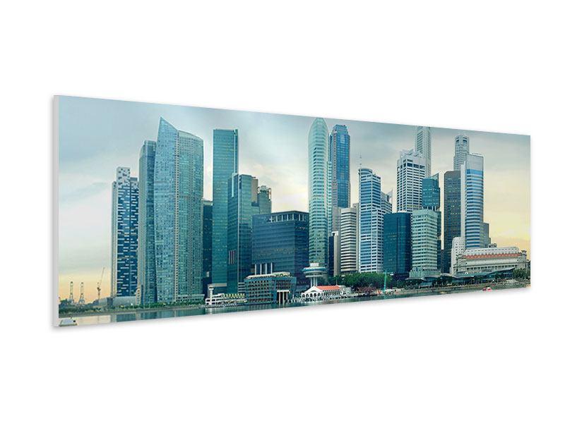 Hartschaumbild Panorama Skyline Sonnenaufgang in Singapur