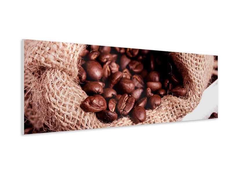 Hartschaumbild Panorama XXL Kaffeebohnen