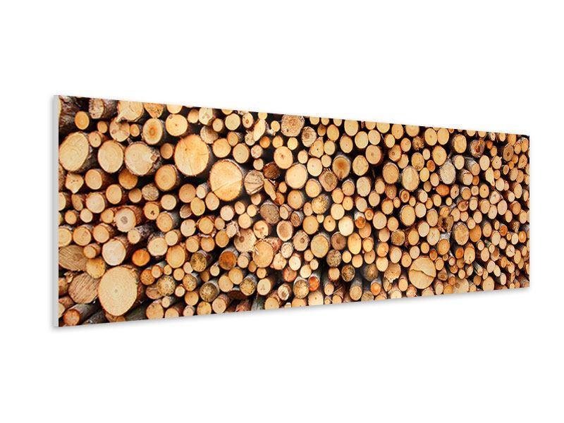 Hartschaumbild Panorama Holzstämme