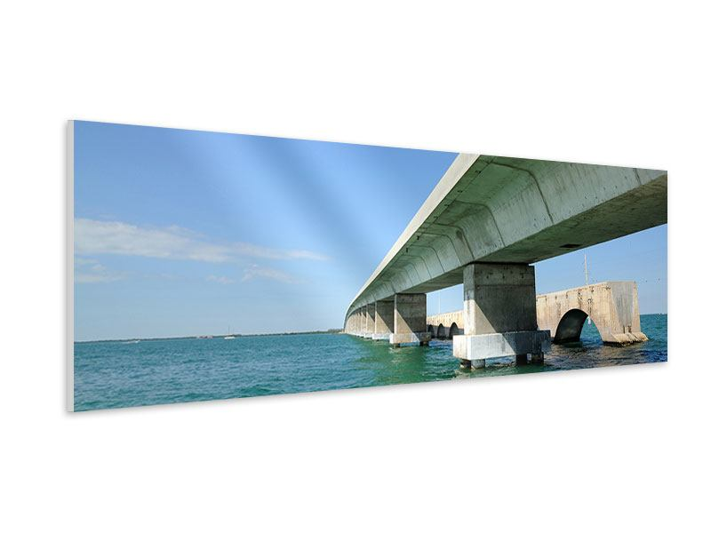 Hartschaumbild Panorama Seven Mile Bridge