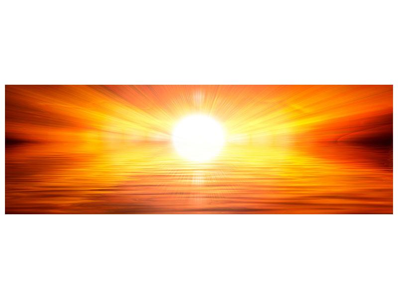 Hartschaumbild Panorama Glühender Sonnenuntergang