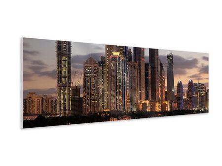 Hartschaumbild Panorama Skyline Dubai bei Sonnenuntergang