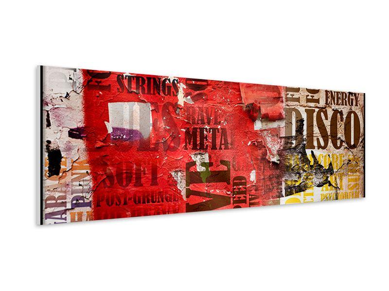 Hartschaumbild Panorama Musiktext im Grungestil