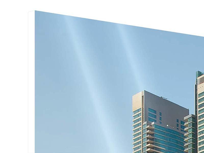 Hartschaumbild Panorama Spektakuläre Wolkenkratzer Dubai