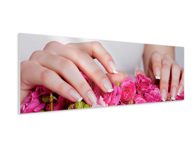 Hartschaumbild Panorama Hände auf Rosen gebettet
