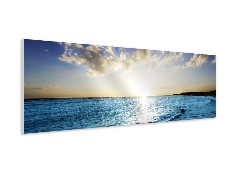 Hartschaumbild Panorama Das Meer im Sonnenaufgang