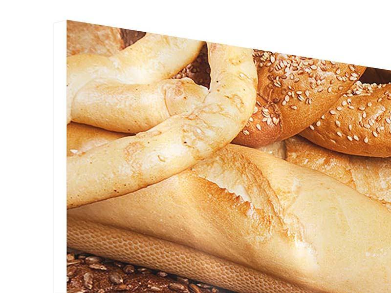 Hartschaumbild Panorama Brot und Bretzel
