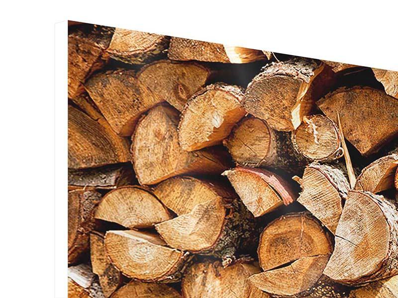 Hartschaumbild Panorama Gestapeltes Holz