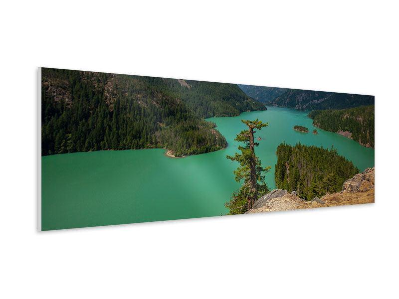 Hartschaumbild Panorama Diablo Bergsee