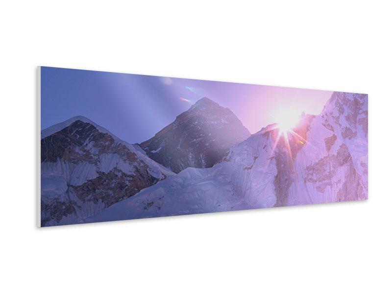 Hartschaumbild Panorama Sonnenaufgang beim Mount Everest