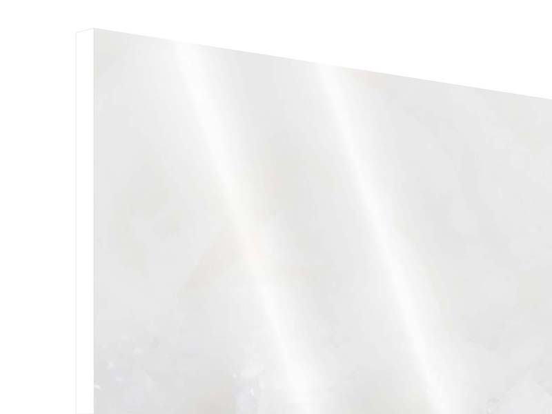 Hartschaumbild Panorama Weisse Rosen im Morgentau