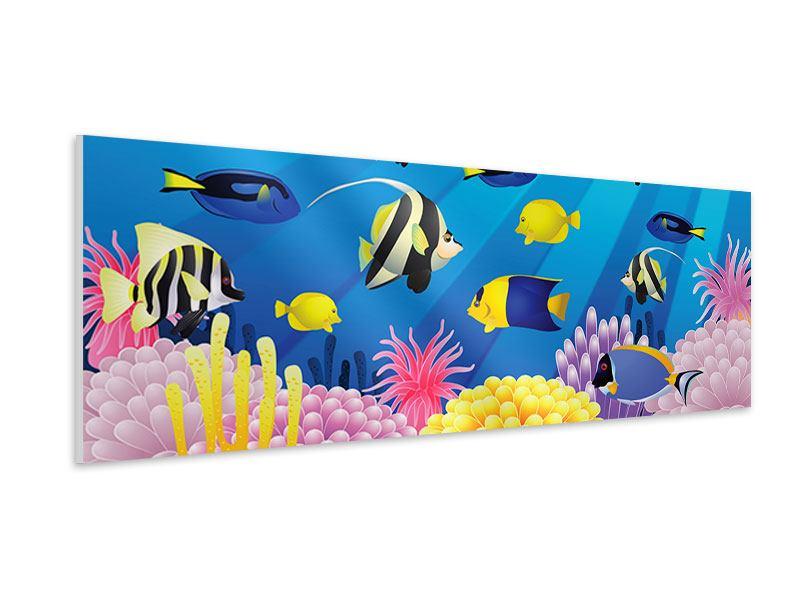 Hartschaumbild Panorama Kinder Unterwasserwelt