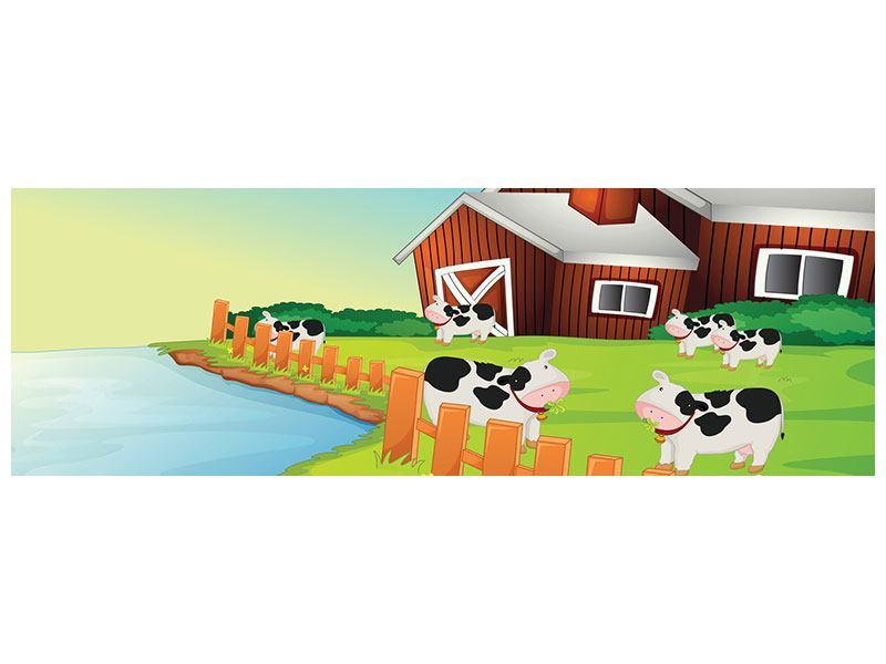 Hartschaumbild Panorama Eine Kuh macht Muh