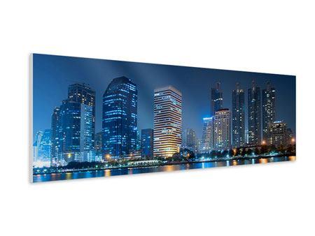 Hartschaumbild Panorama Skyline Bangkok bei Nacht