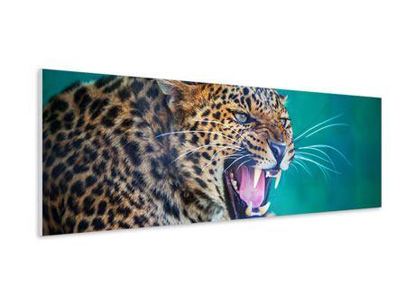 Hartschaumbild Panorama Achtung Leopard