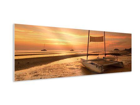Hartschaumbild Panorama Sonnenuntergang am Strand
