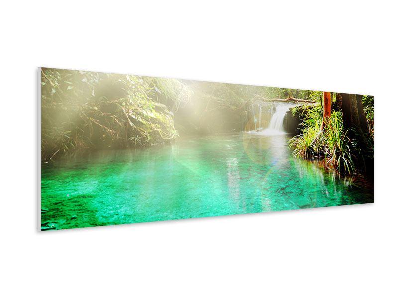 Hartschaumbild Panorama Die grüne Lagune