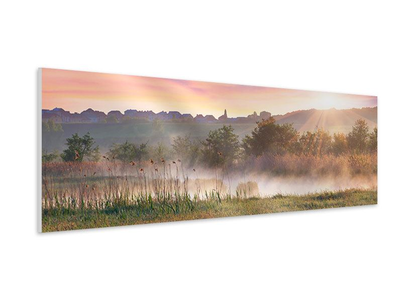 Hartschaumbild Panorama Sonnenuntergang am Hügel