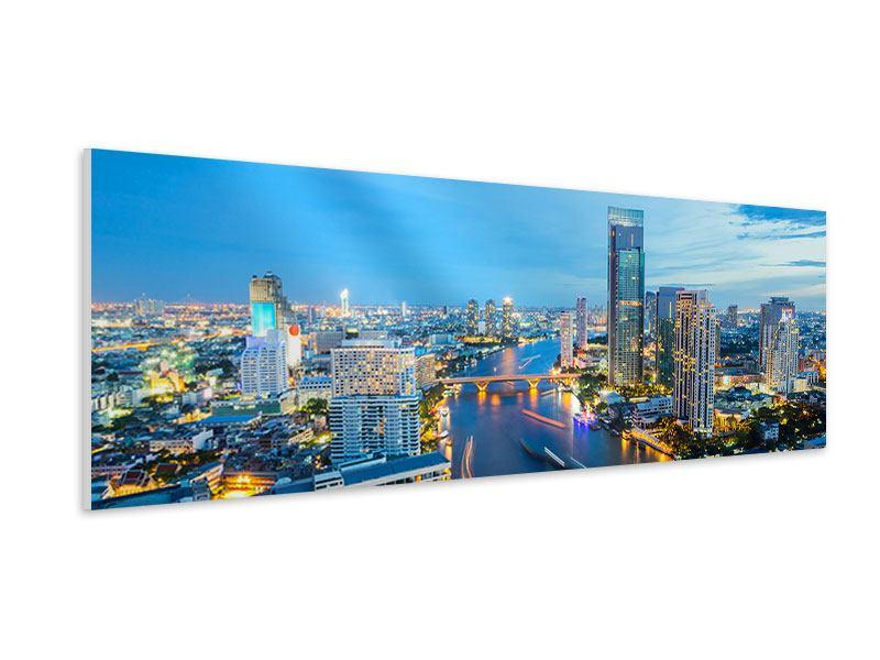 Hartschaumbild Panorama Skyline Bangkok in der Abenddämmerung