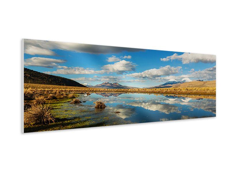Hartschaumbild Panorama Wasserspiegelung am See
