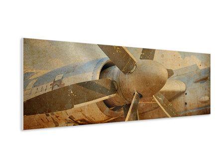 Hartschaumbild Panorama Propellerflugzeug im Grungestil