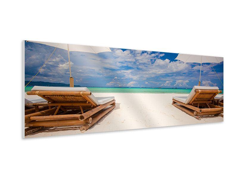 Hartschaumbild Panorama Liegen am Strand