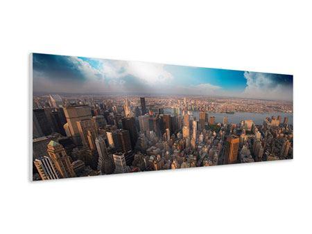 Hartschaumbild Panorama Skyline Über den Dächern von Manhattan