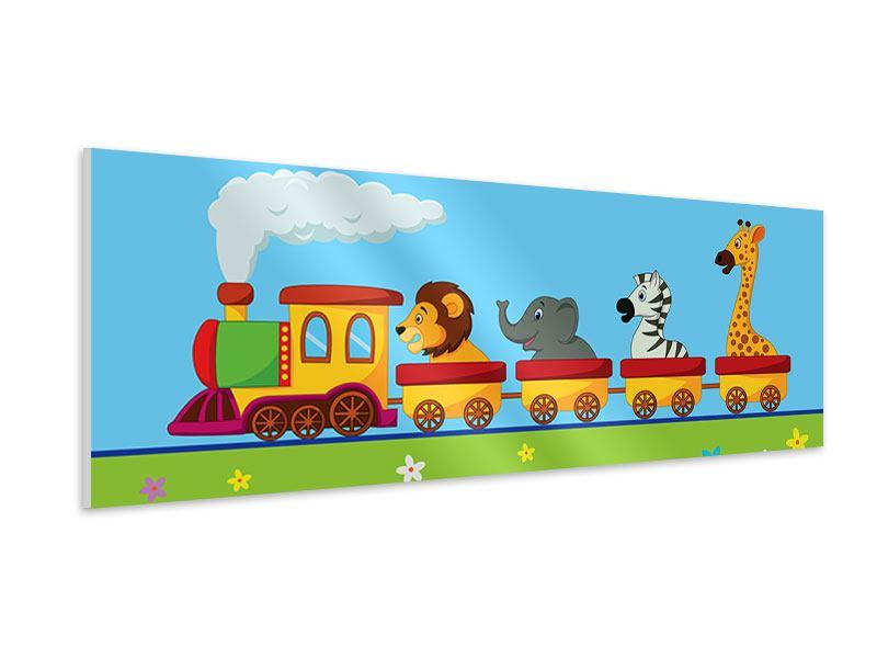Hartschaumbild Panorama Tierische Eisenbahn