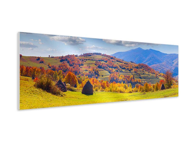 Hartschaumbild Panorama Herbstliche Berglandschaft