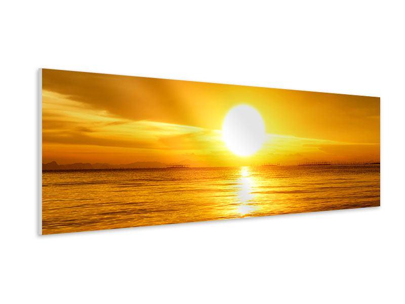 Hartschaumbild Panorama Traumhafter Sonnenuntergang