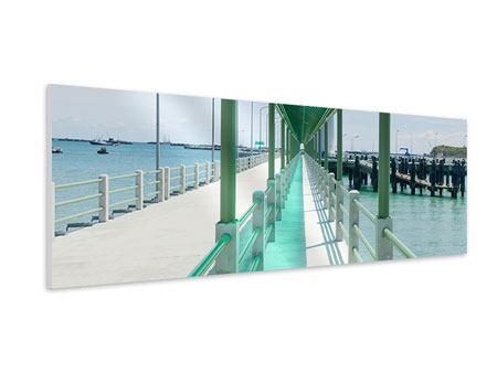 Hartschaumbild Panorama Die Brücke am Meer