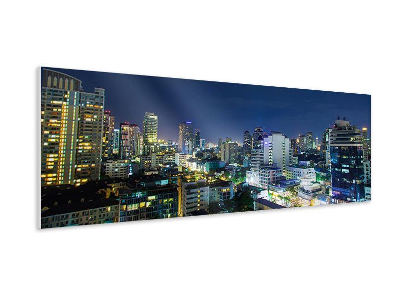 Hartschaumbild Panorama Skyline Nachts in Bangkok