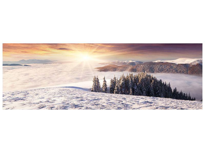 Hartschaumbild Panorama Sonnenaufgang Winterlandschaft